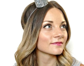 Glitter Crown Bride Mini Crown Bachelorette Party Headband Silver Sparkle