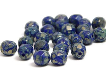 6mm - Fire Polished Beads - Firepolish Beads - Round Beads - Czech Picasso Beads - Blue Beads - Cobalt - Navy - Czech Glass - 25pcs (4675)
