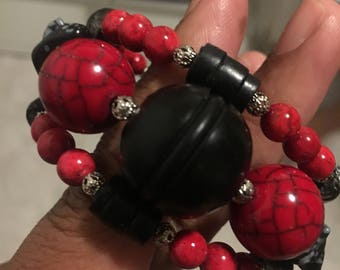 Black and Red Beaded Wrap Bracelet With Snowflake Obsidian