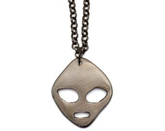 Metal Alien Chain by WATTO Distinctive Metal Wear-Handmade metal charm on Gunmetal Chain, Groomsmen, or Birthday gift
