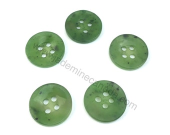 Canadian Nephrite Jade Buttons - Sold Individually - Green Jade - Buttons