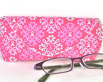 Eyeglass Case - Sunglass Case - Sunglasses Case - Magnetic Clasp - Breast Cancer - Pink Ribbon - Gifts for Her - Pink - White