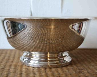 Vintage silver plate Paul Revere-style bowl, Gorham, silver Gorham bowl, pedestal bowl, Gorham, small pedestal bowl