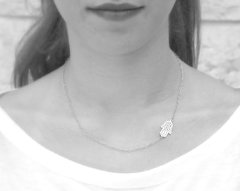 Silver Hamsa Necklace - 925 sterling Silver Filigree Hamsa - Gold hamsa gold filled filigree hamsa 14k gold filled chain