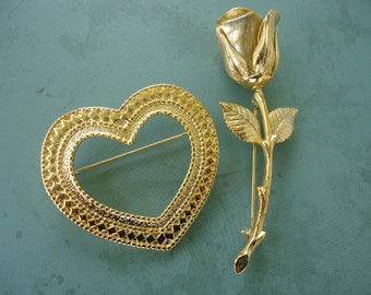 Rose and Heart Brooches
