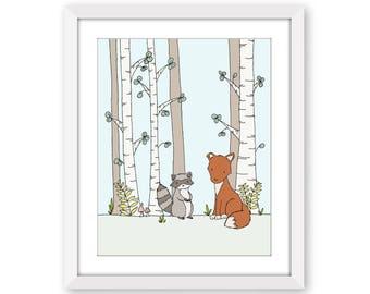 Woodland Nursery Art -- Bushy-tailed Friends -- Fox and Raccoon -- Fox Nursery Art -- Children Art Print -- Kids Wall Art