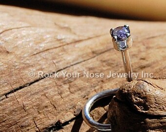 2mm Iolite Nose Stud set in sterling silver - CUSTOMIZE