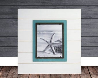 White Distressed 21x21 Plank Frame for 8x10 Photo with Turquoise Mat