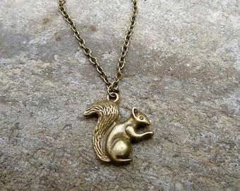 Squirrel Necklace - Woodland Necklace // Antique Brass Necklace