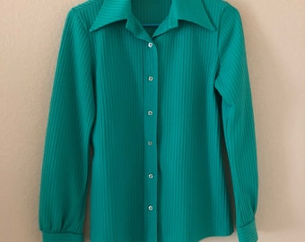 Gorgeous Vintage 70's Green Polyester Button Up