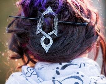 Elven Knot Leather Hair Barrette, SCA, STEAMPUNK, LARP Renaissance
