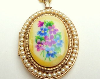 Vintage Gold-Tone,Locket Necklace, Painted Blue & Purple Violets, Seed Pearl Halo, Designer Avon Locket, Gift for Mom,  Mother's Day Gift