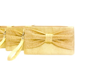 Shimmering gold bow wristlet clutch bridesmaid clutch  gift,zipper pouch,