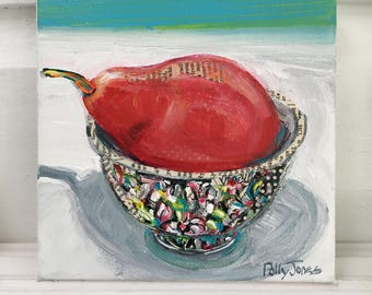 Red Pear original acrylic mixed media still life painting by Polly Jones
