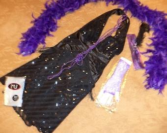 1920s Costume Flapper Roaring Twenties Gatsby black sequin dress access boa women 12