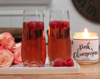 Pink Champagne Scented Candle - 8 oz | Candle Gift | Unique Scented Candle | Celebration Gift | Personalized Candle | Cheers Gift