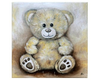 Teddy Bear - Original oil painting on canvas, cute toy art nursery kids children room wall decoration home decor square
