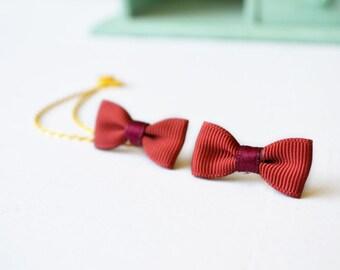 Copper Ribbon Bow Double Gold Chain Cuff Earring Ear Cuff (Pair)