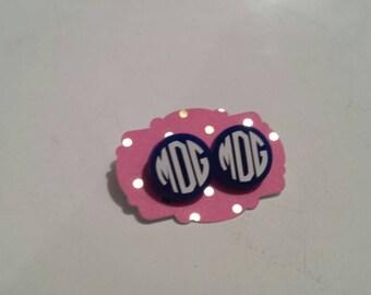 Monogram Acrylic Earrings, Monogram, Round Earrings, Personalized, Earrings, Stud