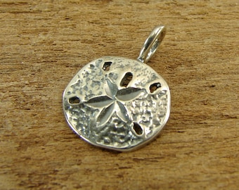 Tiny Sterling Sand Dollar - Sterling Silver Sand Dollar Charm or  Petite Pendant - One Piece - pptssd