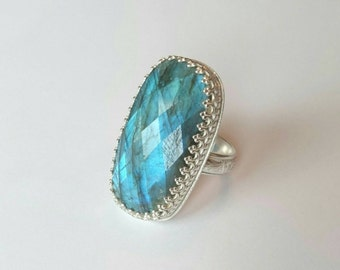 SALE Sterling silver handmade rose cut labradorite statement ring, hallmarked in Edinburgh
