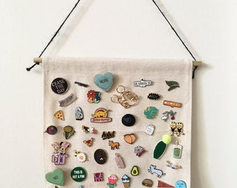 Pin Badge Display, Pin Collection, Enamel Pin Display,  Canvas Pennant, Enamel Pin Collection, Patch Display, Wall Banner, Pennant, Badge