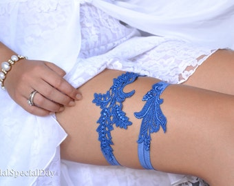 Bridal Garter, Wedding Garter Blue, Wedding Garter Set, Something Blue, Handmade Garter, Royal Blue Garter, Lace Bridal Garter, Blue Garter
