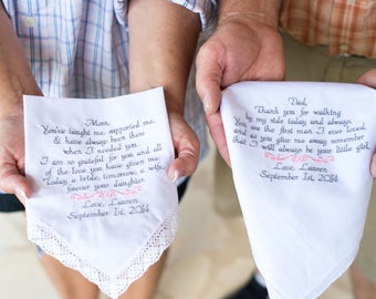 Embroidered Wedding Handkerchiefs Personalized Mom Dad Gifts for Mom Dad 2 Wedding Gifts for Mom and Dad Wedding Gifts By Canyon Embroidery