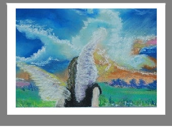 "PRINT of  Original Pastel Painting, Angel Artwork Home Decor, ""Angel Stirs the Clouds"""