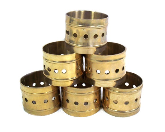 Set of 6 Vintage Brass Napkin Rings