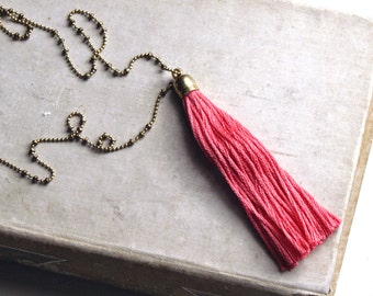 Pink Tassel Necklace, Long Tassel Necklace, Layering Tassel Necklace, Domenica