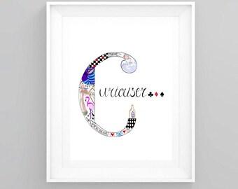 Alice in wonderland art print. Curiouser letter A5 art print. Wall art.