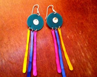 Funky Artsy Dangle Earrings - Made of Metal and Rhinestone