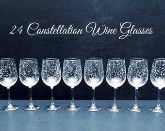 Set of 24 Handpainted Star Constellation Wine Glasses - Custom Order Your Own Set