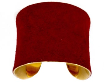 Red Suede Leather Gold Metal Cuff Bracelet - by UNEARTHED