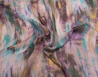 REMNANT--Muted Turquoise Olive and Purple Striated Print Pure Silk Chiffon Fabric--1/2 Yard