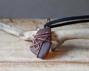 Sea Glass Necklace, Seaglass Pendant, Wire Wrap, Sea Beach Glass Creation, Ocean Jewelry, Beach Necklace, Brown, Gift Mom Friend Sister