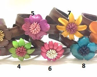 Genuine Leather Flower Bangle