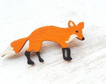 Fox brooch. Fox badge. Fox jewellery fox pin Mr fox. Save the fox. Handpainted fox brooch. red fox. Foxes. Fox gift. Fox jewelry. Woodland