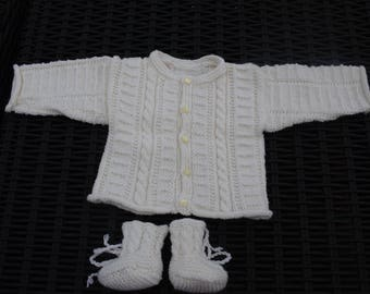 Set Cardigan and booties size 3 months