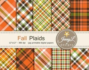 50% OFF Fall Autumn Plaids Digital Papers, Holiday Digital ScrapbookingPaper, Orange, Brown Green
