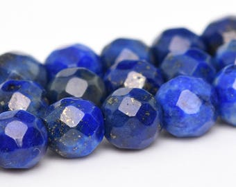 "4MM Faceted Lapis Lazuli Grade A Natural Gemstone Full Strand Round Loose Beads 15"" (100897-341)"
