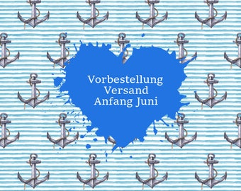 Pre-order Jersey digital print seaside anchor blue/white striped 0.5 m x 1.5 m