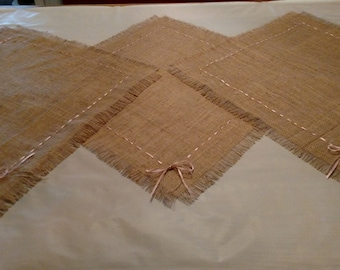 Burlap Table Squares with Pink Ribbon  (Set of 3)