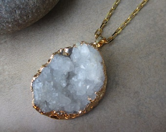White Druzy Necklace, Druzy Gold Necklace, White Necklace, Irisjewelrydesign