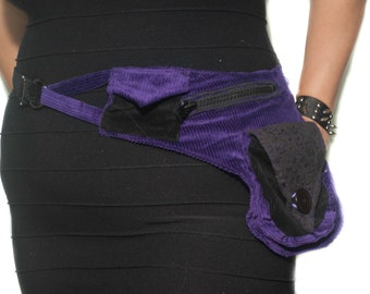 Upcycled Corduroy Pouch Belt- Black and Purple