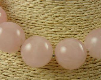 Rose Quartz Sphere Necklace, Sterling Silver, Wilma Flintstone