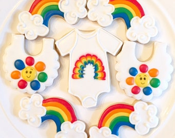 Rainbow Baby Cookies | Rainbow Cookies | Baby Shower Cookies | One Dozen
