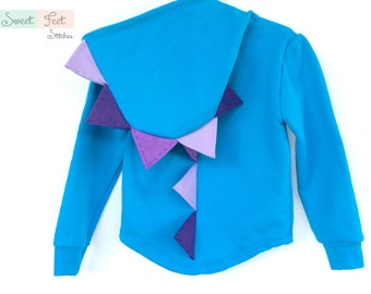 Girls Small Blue Dinosaur Hoodie with Purple Spikes