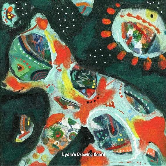 Bear, Bear Cub, Bear Art, Bear Art Print, Ursa Minor, Primitive Decor, Spirit Animal, Colorful Art, Colorful Art Print, Colorful Artwork